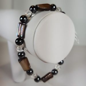 B44 Blk & Slvr Mother Of Pearl Stretch Bracelet